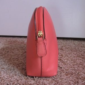 Coach Bags - Coach Coral Pink Crossgrain Leather Cosmetic Bag